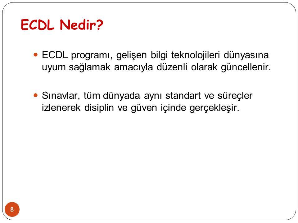 ECDL Nedir ECDL programı, gelişen bilgi teknolojileri dünyasına uyum sağlamak amacıyla düzenli olarak güncellenir.