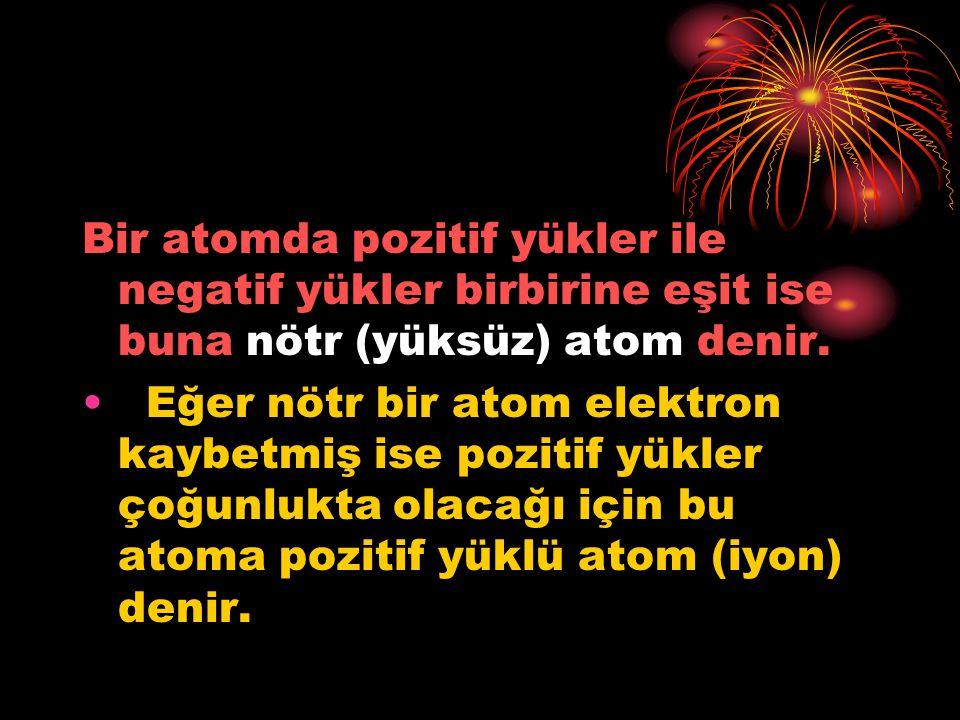 Bir atomda pozitif yükler ile negatif yükler birbirine eşit ise buna nötr (yüksüz) atom denir.