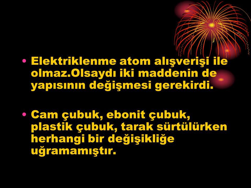 Elektriklenme atom alışverişi ile olmaz