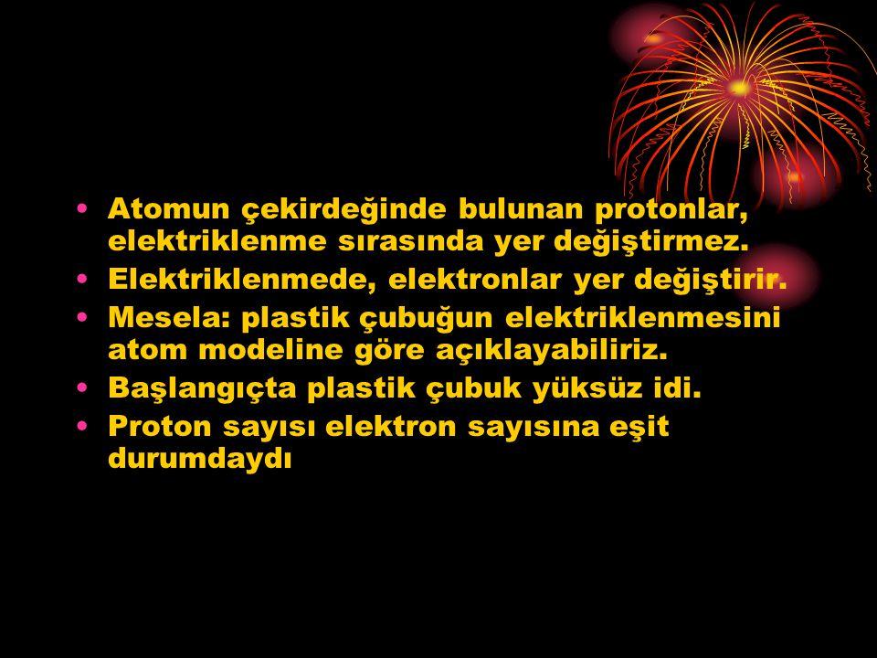 Atomun çekirdeğinde bulunan protonlar, elektriklenme sırasında yer değiştirmez.