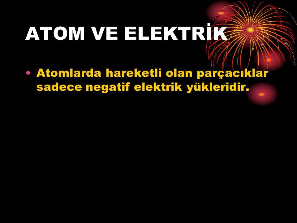 ATOM VE ELEKTRİK Atomlarda hareketli olan parçacıklar sadece negatif elektrik yükleridir.