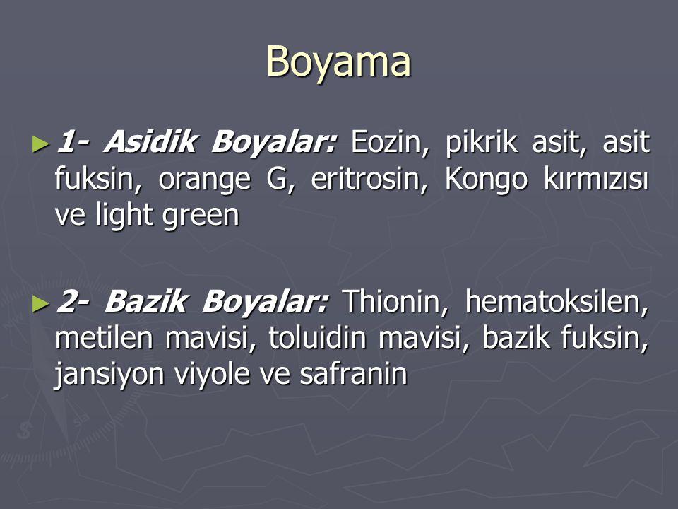 Boyama 1- Asidik Boyalar: Eozin, pikrik asit, asit fuksin, orange G, eritrosin, Kongo kırmızısı ve light green.
