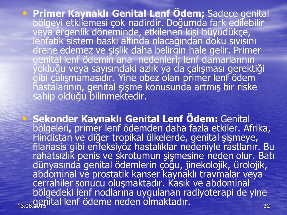 Primer Kaynaklı Genital Lenf Ödem; Sadece genital bölgeyi etkilemesi çok nadirdir. Doğumda fark edilebilir veya ergenlik döneminde, etkilenen kişi büyüdükçe, lenfatik sistem baskı altında olacağından doku sıvısını drene edemez ve şişlik daha belirgin hale gelir. Primer genital lenf ödemin ana nedenleri; lenf damarlarının yokluğu veya sayısındaki azlık ya da çalışması gerektiği gibi çalışmamasıdır. Yine obez olan primer lenf ödem hastalarının, genital şişme konusunda artmış bir riske sahip olduğu bilinmektedir.