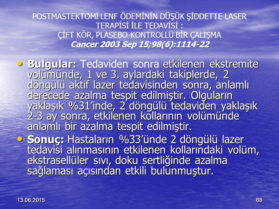 POSTMASTEKTOMİ LENF ÖDEMİNİN DÜŞÜK ŞİDDETTE LASER TERAPİSİ İLE TEDAVİSİ : ÇİFT KÖR, PLASEBO-KONTROLLÜ BİR ÇALIŞMA Cancer 2003 Sep 15;98(6):1114-22
