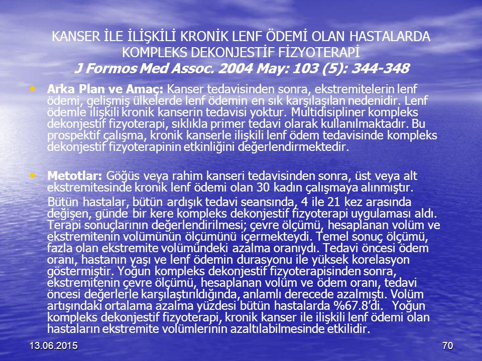 KANSER İLE İLİŞKİLİ KRONİK LENF ÖDEMİ OLAN HASTALARDA KOMPLEKS DEKONJESTİF FİZYOTERAPİ J Formos Med Assoc. 2004 May: 103 (5): 344-348