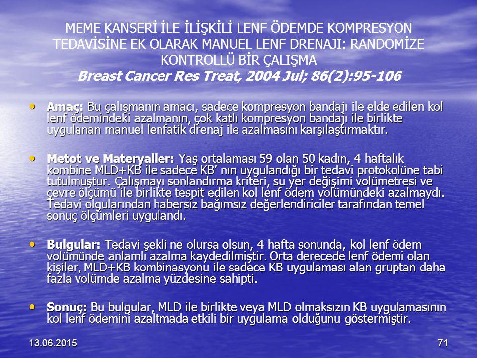 MEME KANSERİ İLE İLİŞKİLİ LENF ÖDEMDE KOMPRESYON TEDAVİSİNE EK OLARAK MANUEL LENF DRENAJI: RANDOMİZE KONTROLLÜ BİR ÇALIŞMA Breast Cancer Res Treat, 2004 Jul; 86(2):95-106