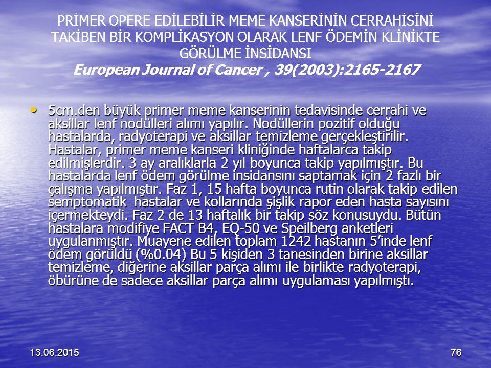 PRİMER OPERE EDİLEBİLİR MEME KANSERİNİN CERRAHİSİNİ TAKİBEN BİR KOMPLİKASYON OLARAK LENF ÖDEMİN KLİNİKTE GÖRÜLME İNSİDANSI European Journal of Cancer , 39(2003):2165-2167