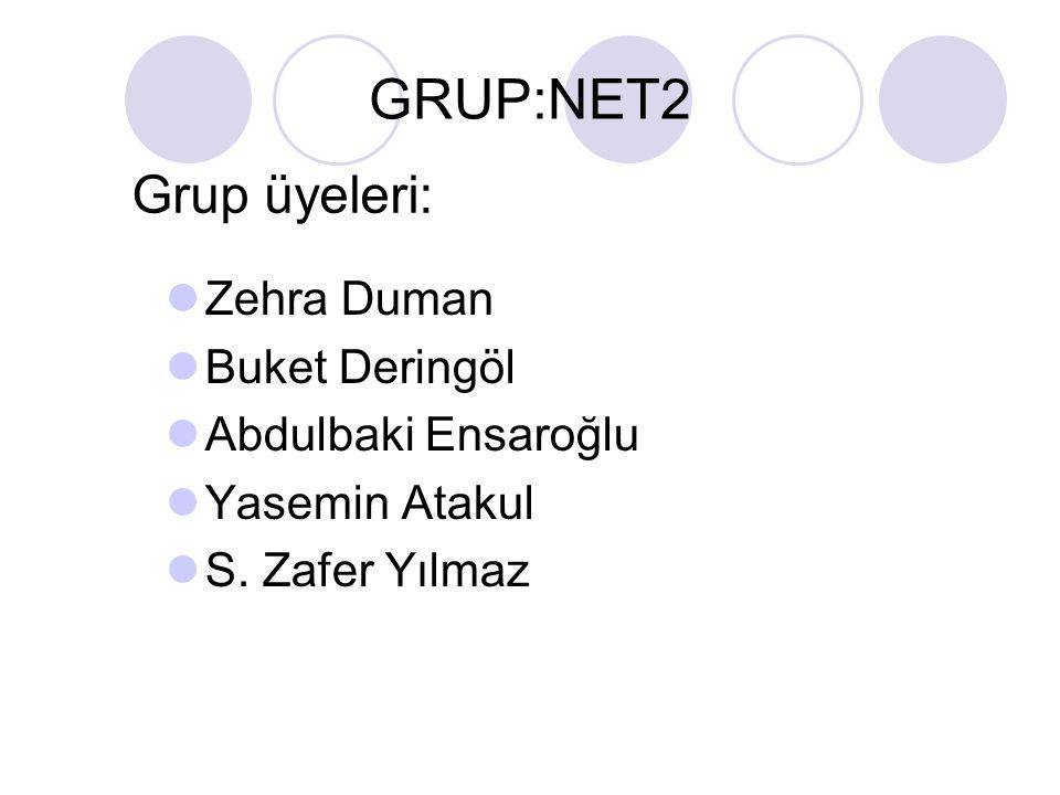 GRUP:NET2 Grup üyeleri: Zehra Duman Buket Deringöl Abdulbaki Ensaroğlu