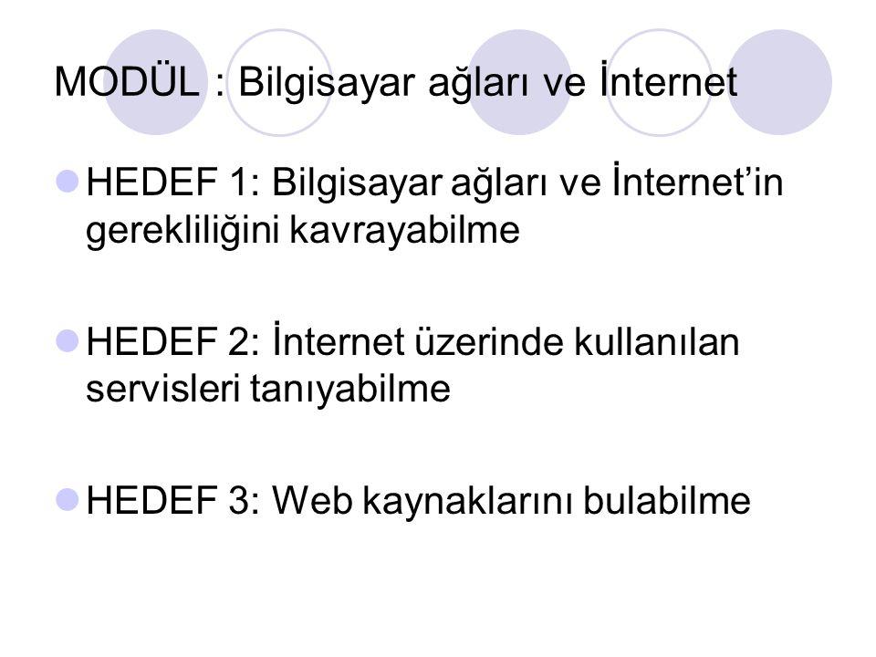 MODÜL : Bilgisayar ağları ve İnternet