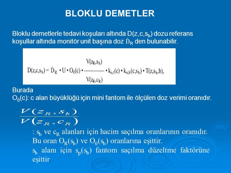 BLOKLU DEMETLER Bloklu demetlerle tedavi koşuları altında D(z,c,sb) dozu referans. koşullar altında monitör unit başına doz ḊR den bulunabilir.