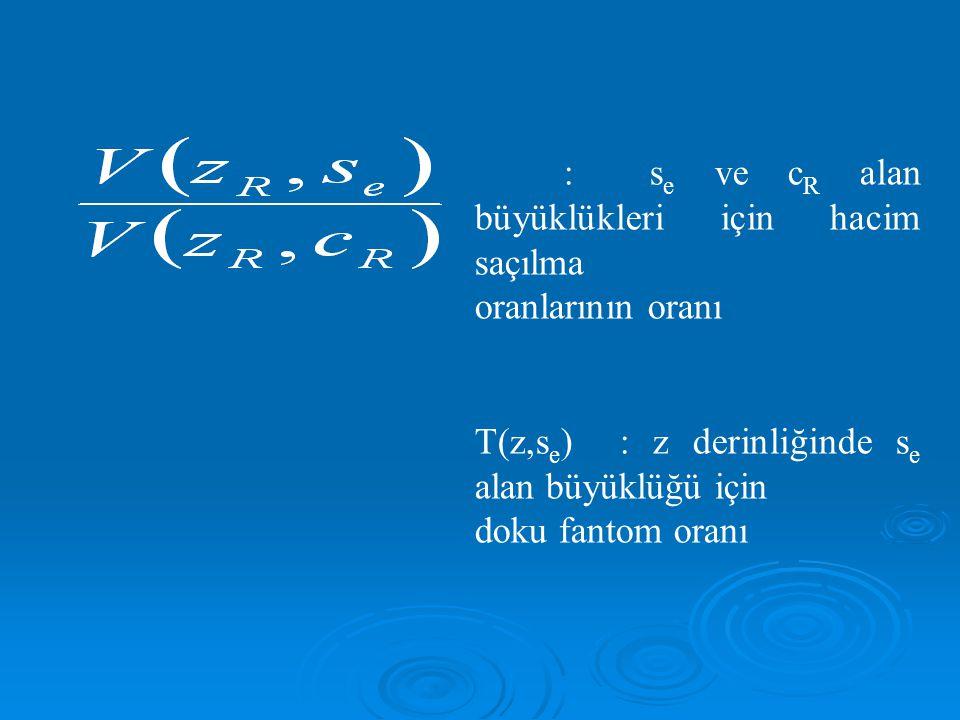 T(z,se) : z derinliğinde se alan büyüklüğü için doku fantom oranı