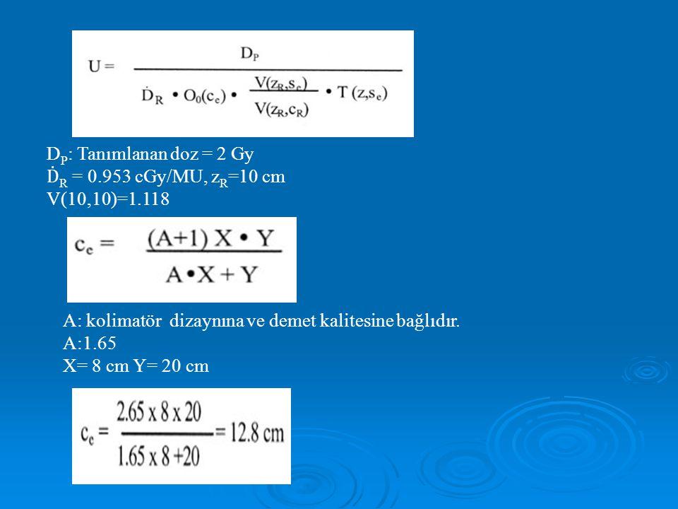 DP: Tanımlanan doz = 2 Gy ḊR = 0.953 cGy/MU, zR=10 cm. V(10,10)=1.118. A: kolimatör dizaynına ve demet kalitesine bağlıdır.