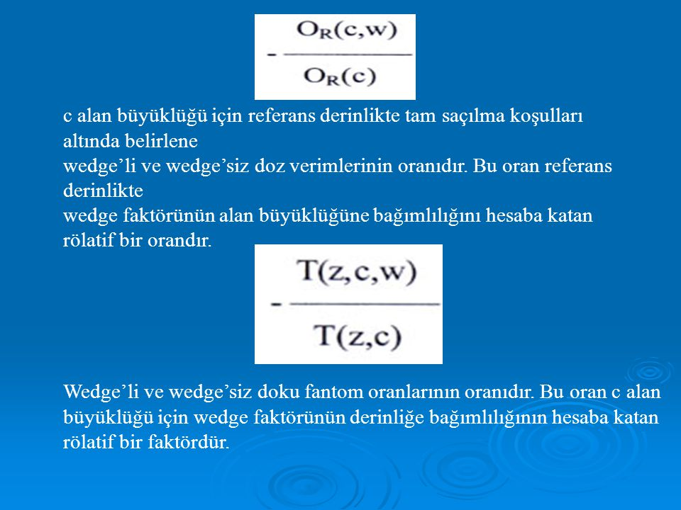 c alan büyüklüğü için referans derinlikte tam saçılma koşulları altında belirlene