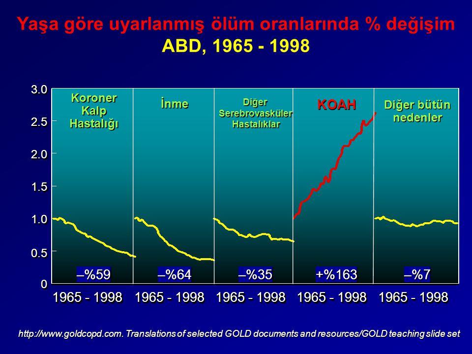 Yaşa göre uyarlanmış ölüm oranlarında % değişim