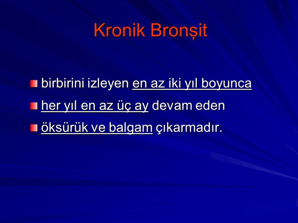 Kronik Bronşit birbirini izleyen en az iki yıl boyunca
