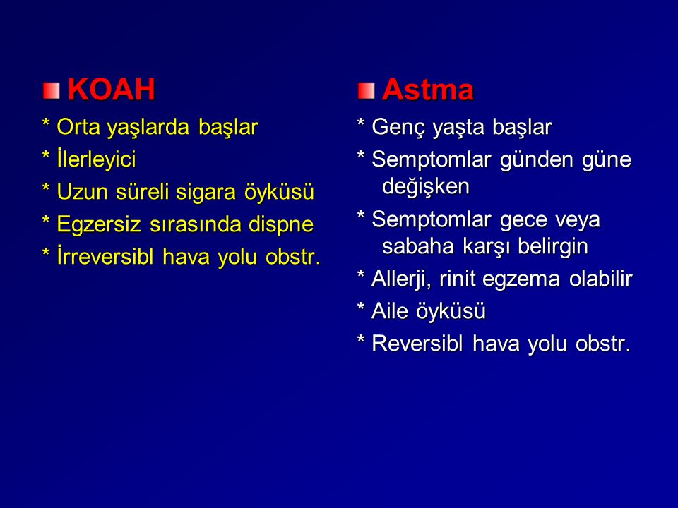 KOAH Astma * Orta yaşlarda başlar * İlerleyici