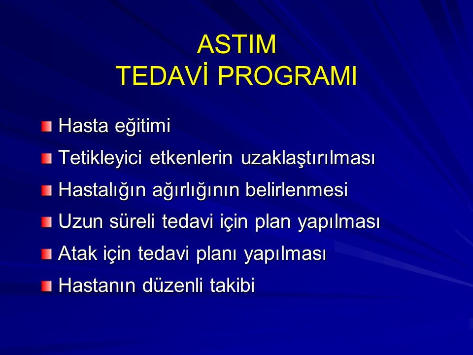 ASTIM TEDAVİ PROGRAMI Hasta eğitimi