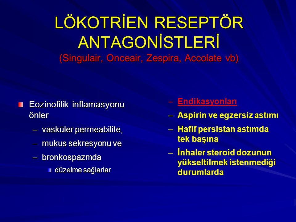 LÖKOTRİEN RESEPTÖR ANTAGONİSTLERİ (Singulair, Onceair, Zespira, Accolate vb)