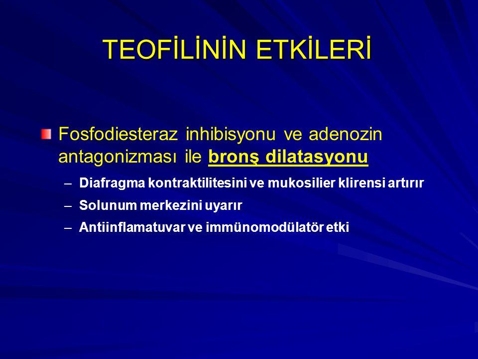 TEOFİLİNİN ETKİLERİ Fosfodiesteraz inhibisyonu ve adenozin antagonizması ile bronş dilatasyonu.