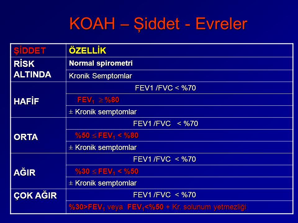 KOAH – Şiddet - Evreler ŞİDDET ÖZELLİK RİSK ALTINDA HAFİF ORTA AĞIR
