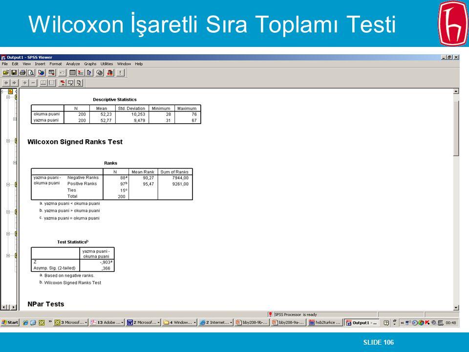 Wilcoxon İşaretli Sıra Toplamı Testi