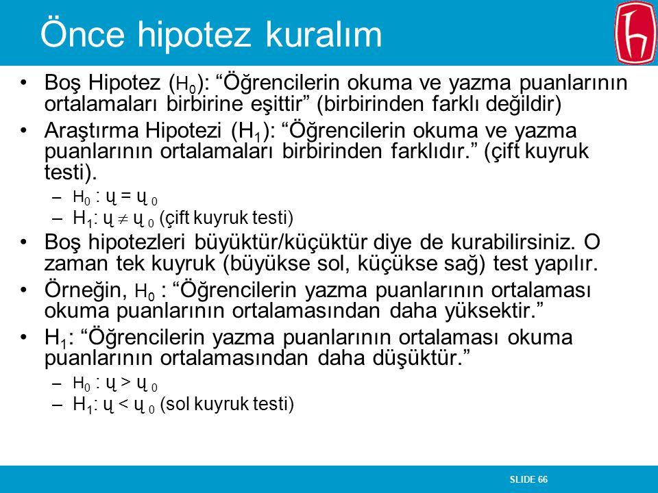 Önce hipotez kuralım Boş Hipotez (H0): Öğrencilerin okuma ve yazma puanlarının ortalamaları birbirine eşittir (birbirinden farklı değildir)