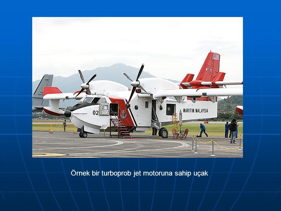 Örnek bir turboprob jet motoruna sahip uçak