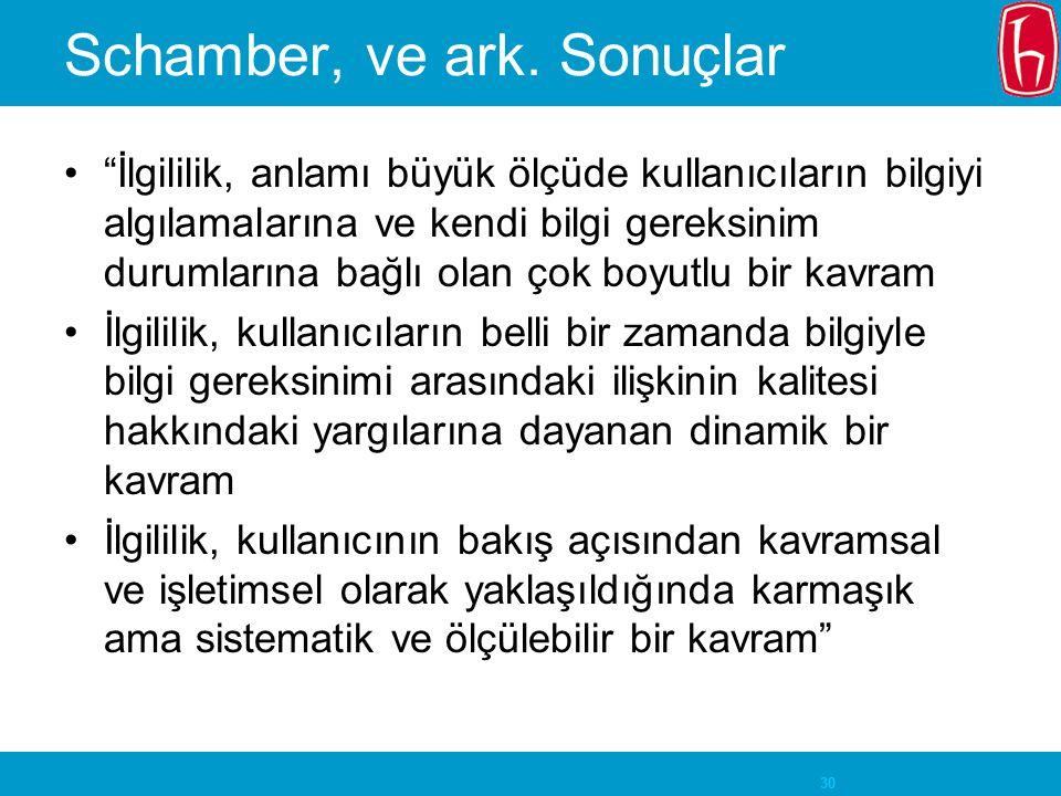 Schamber, ve ark. Sonuçlar
