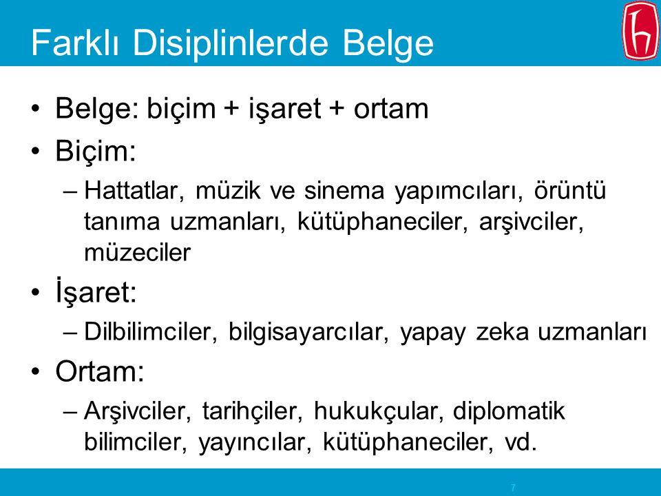 Farklı Disiplinlerde Belge
