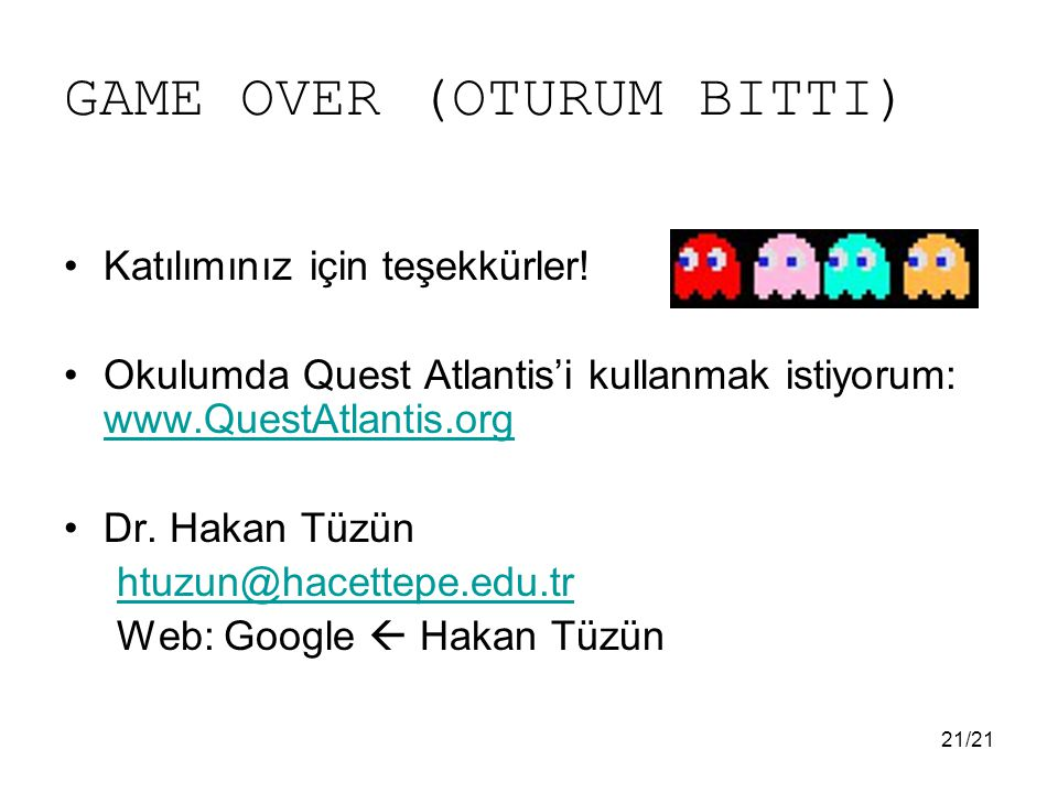 GAME OVER (OTURUM BITTI)