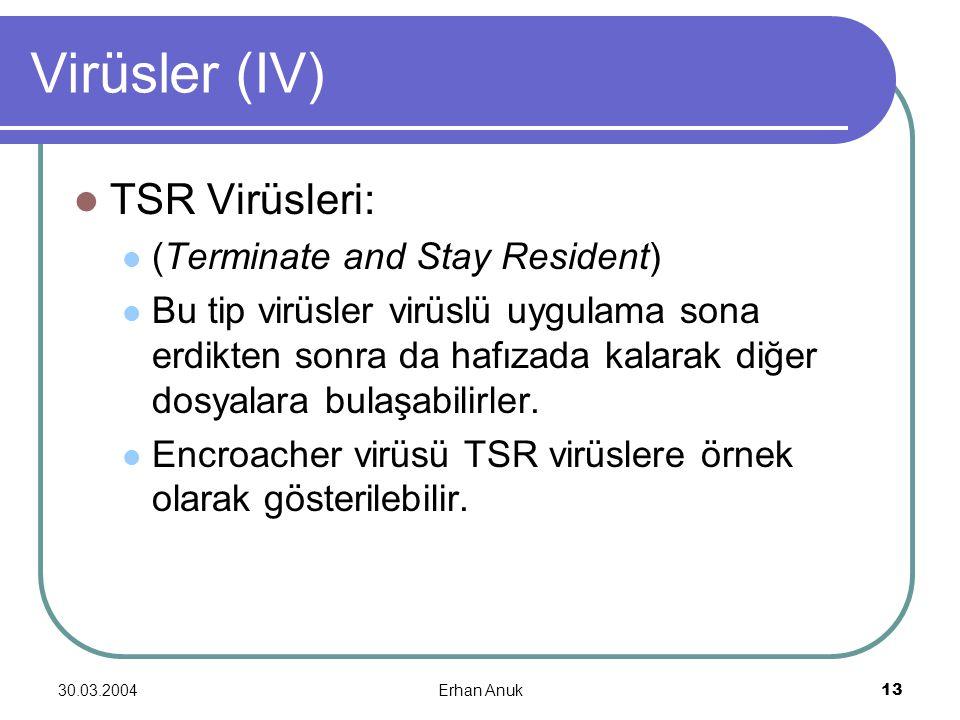 Virüsler (IV) TSR Virüsleri: (Terminate and Stay Resident)