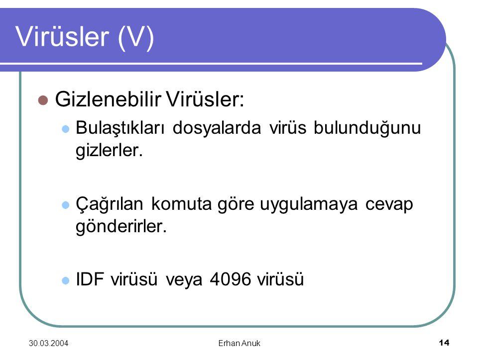 Virüsler (V) Gizlenebilir Virüsler: