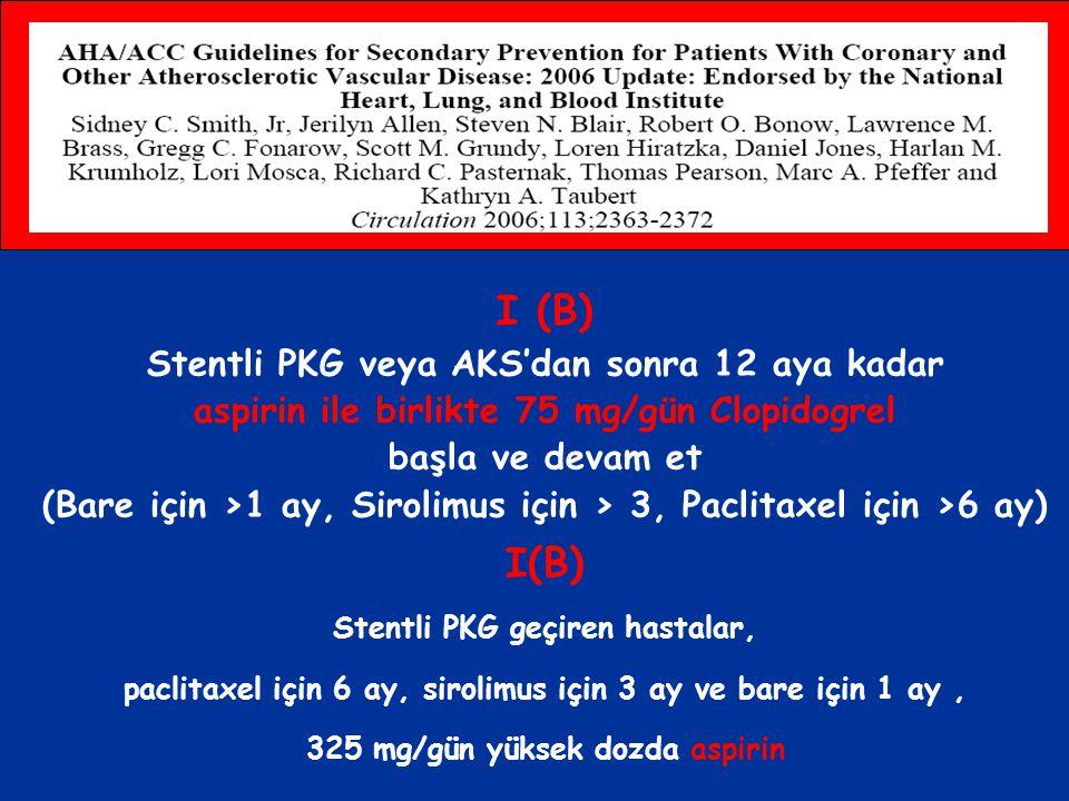 I (B) I(B) Stentli PKG veya AKS'dan sonra 12 aya kadar