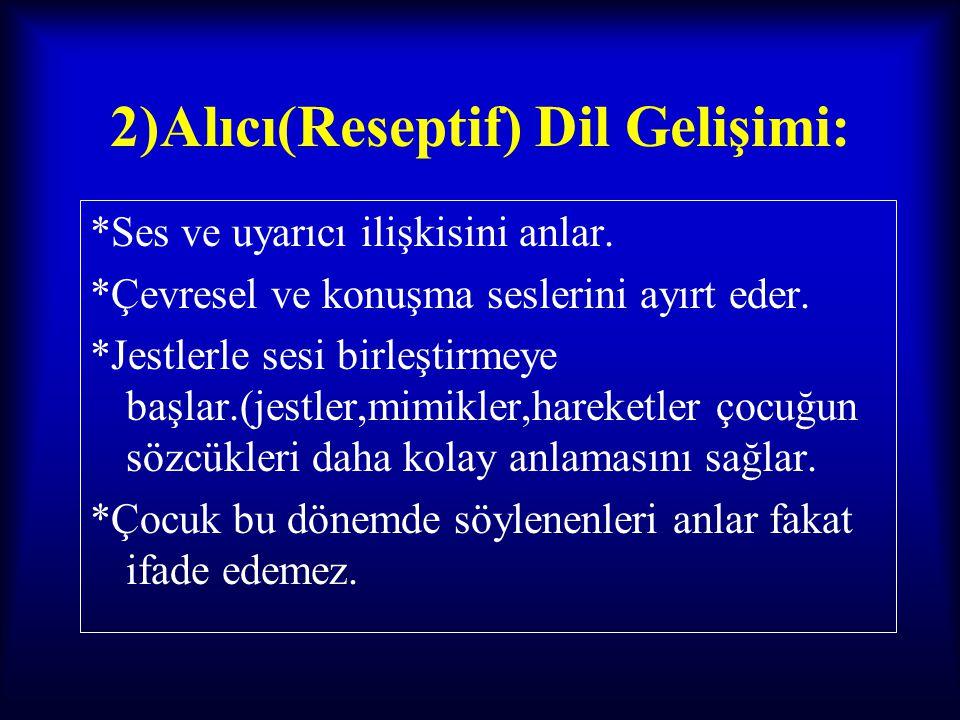 2)Alıcı(Reseptif) Dil Gelişimi: