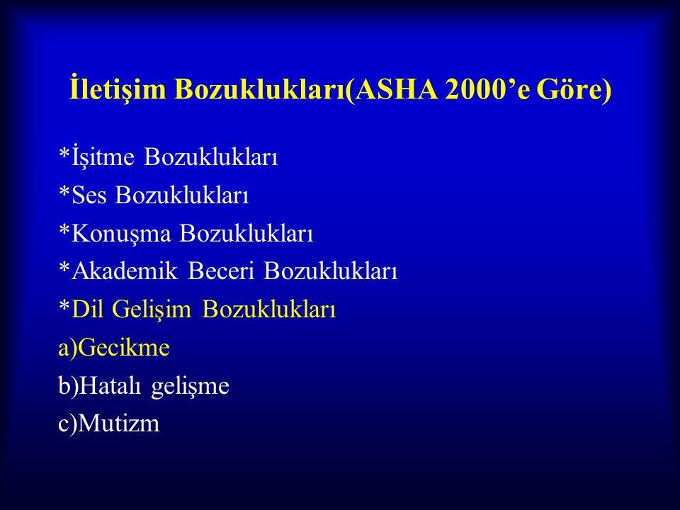 İletişim Bozuklukları(ASHA 2000'e Göre)