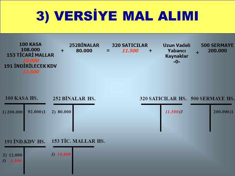3) VERSİYE MAL ALIMI 100 KASA HS. 252 BİNALAR HS. 320 SATICILAR HS.