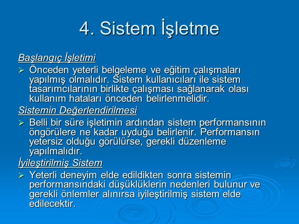4. Sistem İşletme Başlangıç İşletimi