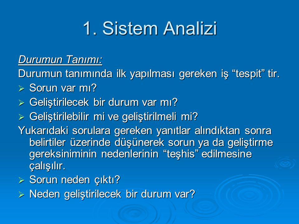 1. Sistem Analizi Durumun Tanımı: