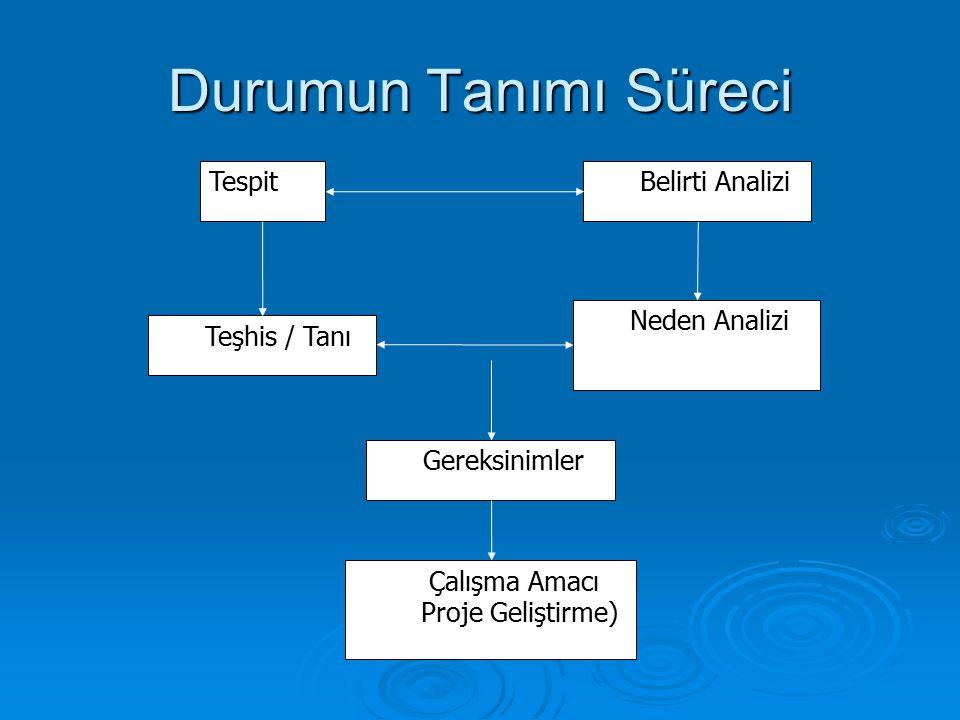 Durumun Tanımı Süreci Tespit Belirti Analizi Teşhis / Tanı