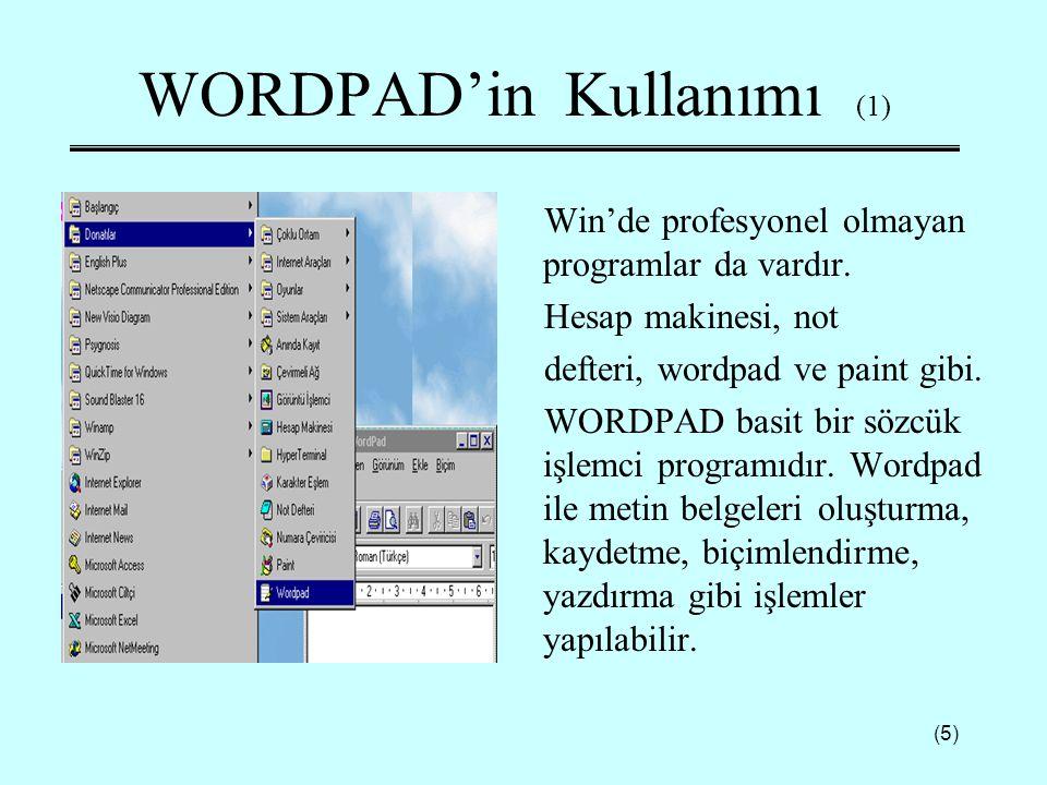 WORDPAD'in Kullanımı (1)