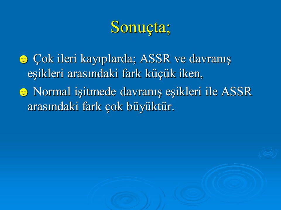 Sonuçta; ☻ Çok ileri kayıplarda; ASSR ve davranış eşikleri arasındaki fark küçük iken,