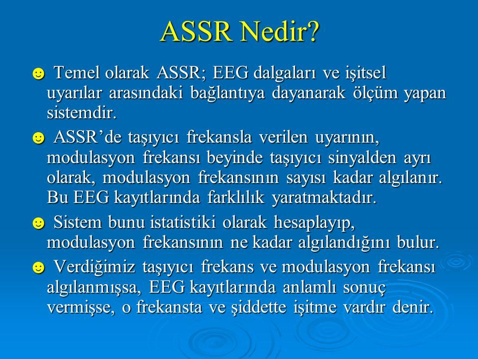 ASSR Nedir ☻ Temel olarak ASSR; EEG dalgaları ve işitsel uyarılar arasındaki bağlantıya dayanarak ölçüm yapan sistemdir.