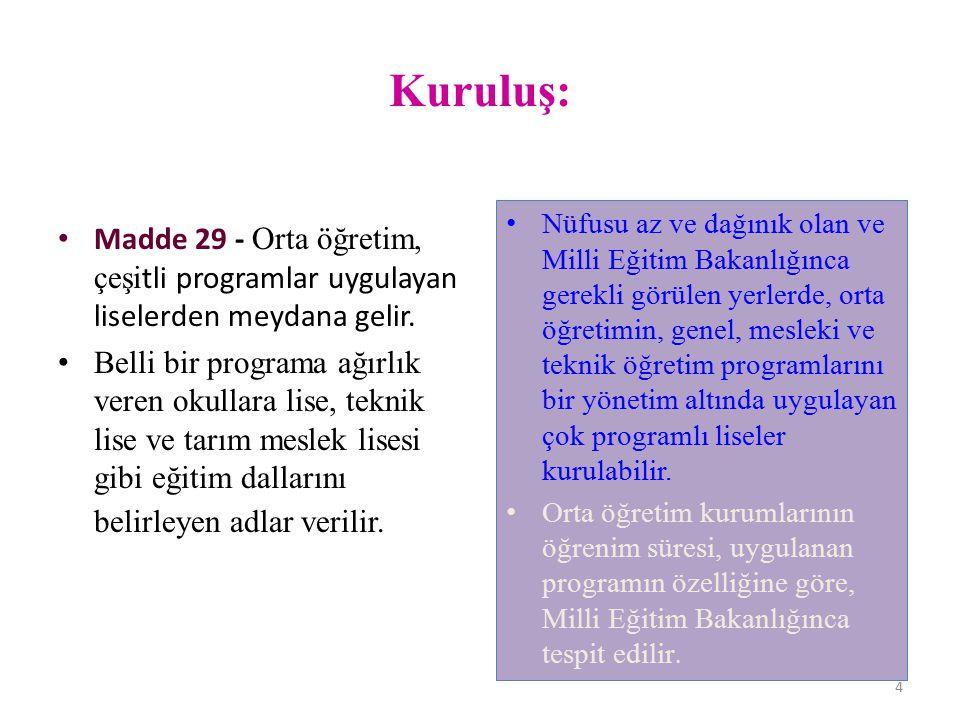 Kuruluş: Madde 29 - Orta öğretim, çeşitli programlar uygulayan liselerden meydana gelir.