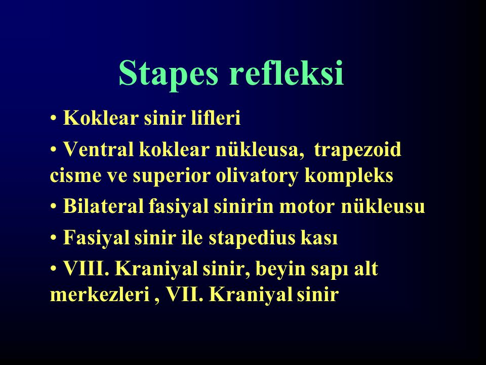 Stapes refleksi Koklear sinir lifleri