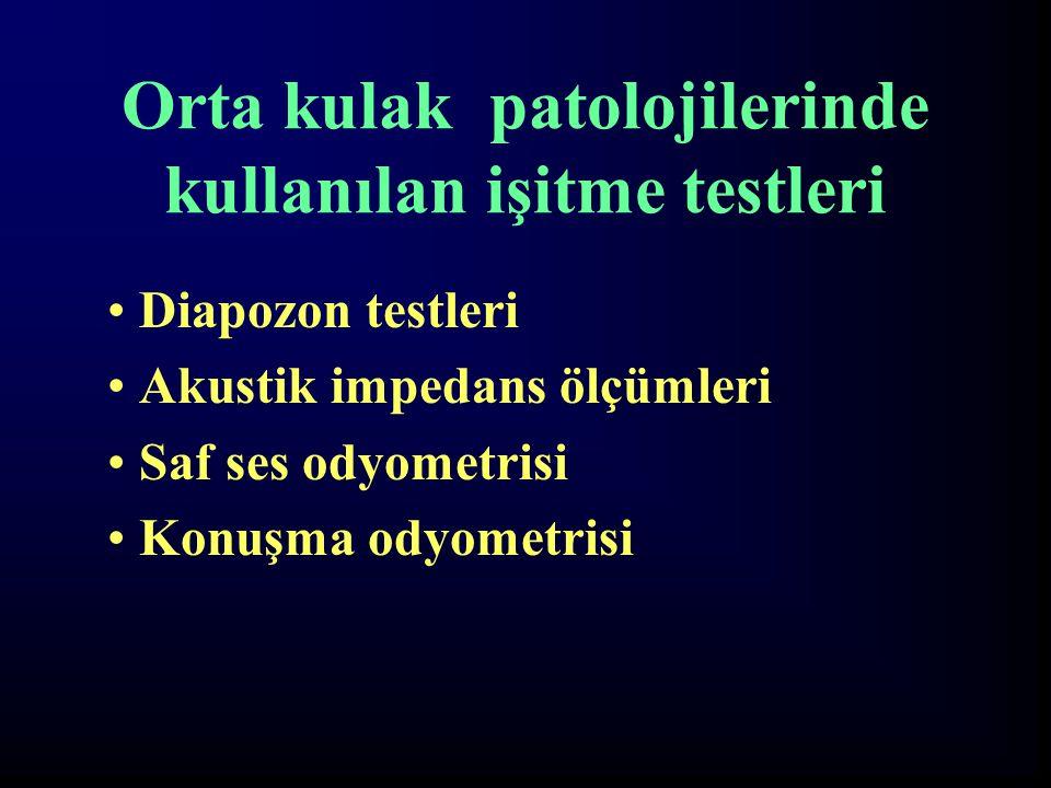 Orta kulak patolojilerinde kullanılan işitme testleri