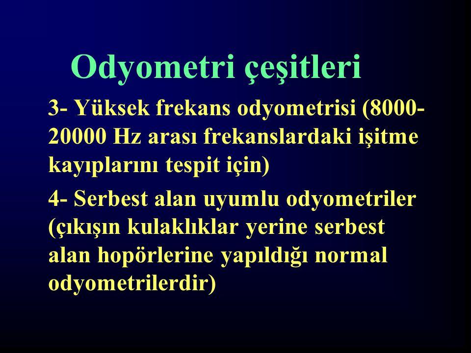Odyometri çeşitleri 3- Yüksek frekans odyometrisi (8000- 20000 Hz arası frekanslardaki işitme kayıplarını tespit için)