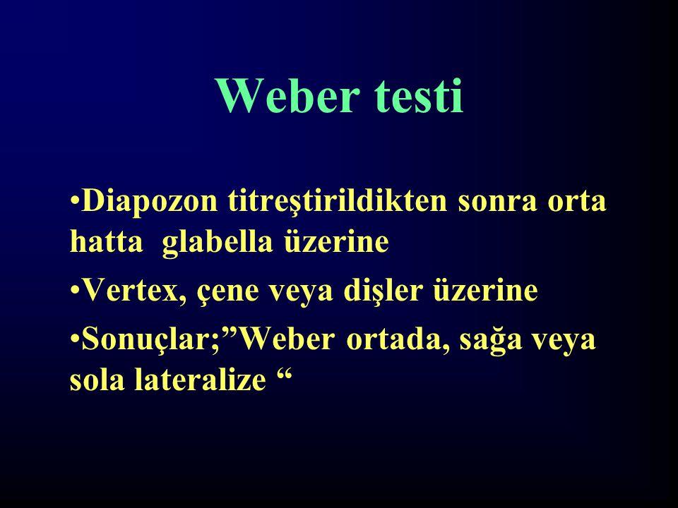 Weber testi Diapozon titreştirildikten sonra orta hatta glabella üzerine. Vertex, çene veya dişler üzerine.