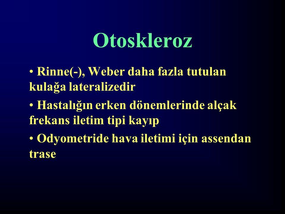 Otoskleroz Rinne(-), Weber daha fazla tutulan kulağa lateralizedir