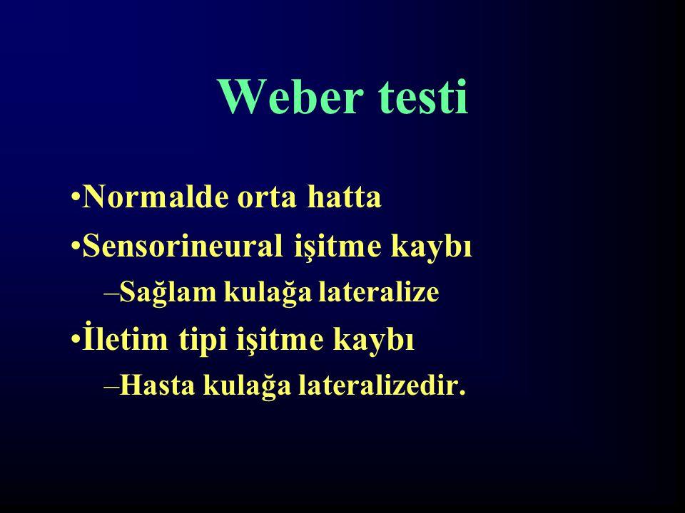 Weber testi Normalde orta hatta Sensorineural işitme kaybı
