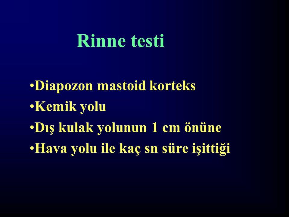 Rinne testi Diapozon mastoid korteks Kemik yolu